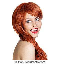 bellezza, riccio, portrait., fondo, hair., bianco
