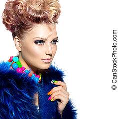 bellezza, ritratto donna, in, moda, blu, cappotto pelliccia