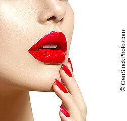 bellezza, unghia, trucco, labbra, manicure, sexy, modello, ragazza, rosso, closeup.