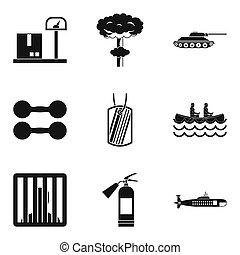 bellicose, iconen, set, eenvoudig, stijl