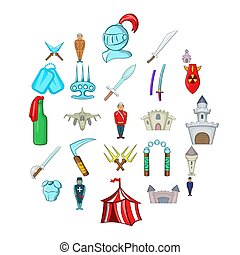 Belligerent icons set, cartoon style - Belligerent icons set...