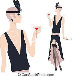 bello, 1920s, giovane, retro, ragazza, style.