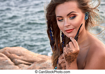 bello, accessori, mehendi, mano, luminoso, mare, ragazza, penna