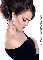 bello, acconciatura, brunetta, gioielleria, fare, bianco,...