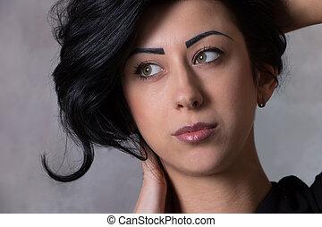 bello, acconciatura, donna, giovane, lungo, capelli, elegante, concetto, closeup, ritratto, baluginante