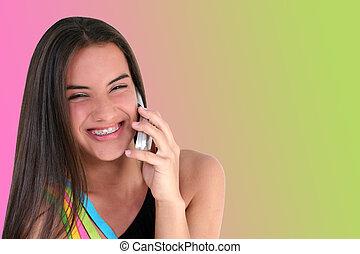 bello, adolescente, cellphone