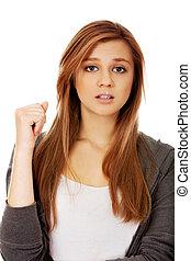 bello, adolescente, donna, espressione, scossa