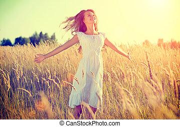 bello, adolescente, natura, fuori, ragazza, godere