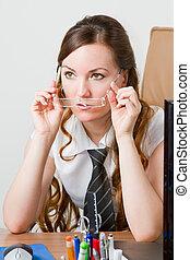 bello, affari, questo, donna d'affari, hair., lungo, theme:, serie, portafoglio, mio, più