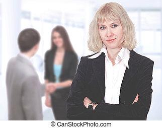 bello, affari, woman., trattative, negoziati, in, il, ufficio., squadra affari, lavorativo