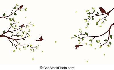 bello, albero, con, uccelli