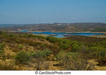 bello,  Algarve, lago, vista