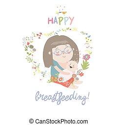 bello, allattando, bambino, lei, mani, preoccupare, presa a terra, madre, bambino, lui