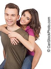 bello, amare, coppia., allegro, giovane, coppia amorosa, abbracciare, e, sorridente, macchina fotografica, mentre, standing, isolato, bianco