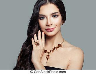 bello, ambra, donna, anello, trucco, brunetta, collana, orecchini