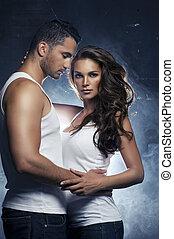 bello, amore, coppia, interno, giovane, abbracciare, ...