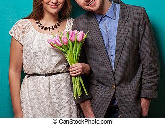 bello, amore, coppia, tulips.valentine's, fiori, giorno