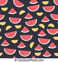 bello, appartamento, agrume, modello, seamless, illustrazione, fondo., luminoso, vettore, anguria, dark., frutta
