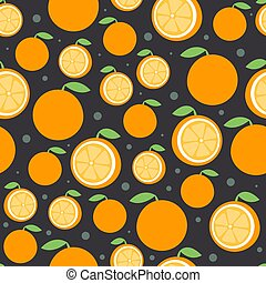 bello, appartamento, agrume, modello, seamless, illustrazione, fondo., luminoso, vettore, dark., arancia, frutta