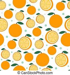 bello, appartamento, agrume, modello, seamless, illustrazione, fondo., luminoso, vettore, white., arancia, frutta