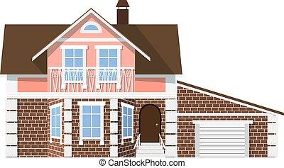 bello, appartamento, garage, casa, two-storey, fondo., piccolo, bianco, style., icona