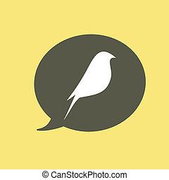 bello, appartamento, vettore, silhouette, uccello