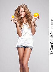 bello, arancia, donna, giovane, ritratto