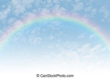 bello, arcobaleno, classico, secondo, cielo, pioggia, blu, attraverso