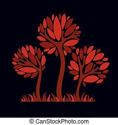bello, arte grafica, fantasia, eco, stagione, immagine, simbolo., illustrazione, stilizzato, albero, idea, vettore, disegno, picture.