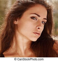 bello, arte, trucco, luminoso, closeup, sexy, ritratto, woman.