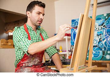bello, artista, lavorando, uno, pittura