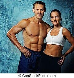 bello, atletico, coppia.