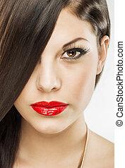 bello, attraente, brunetta, donna, con, lusso, trucco, labbra rossi