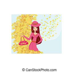 bello, autunno, ragazza, fondo