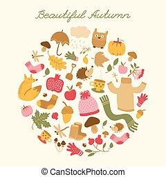 bello, autunno, rotondo, composizione