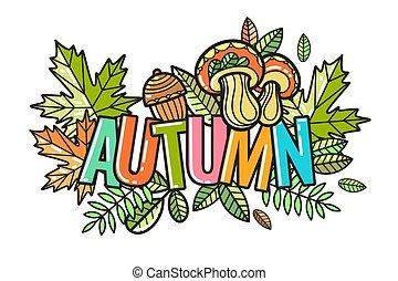 bello, autunno, vettore, composizione