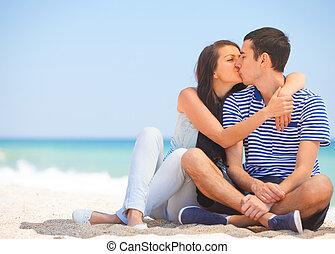 bello, baciare, coppia, spiaggia.