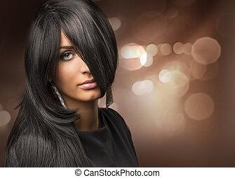 bello, backgr, giovane, capelli, ritratto, ragazza, baluginante