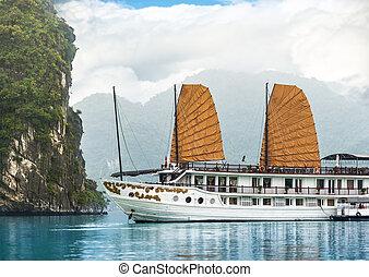 bello, baia halong, asia., vietnam, nave