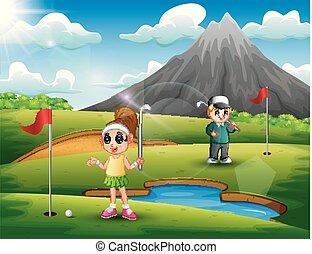 bello, bambini, golf, gioco, natura