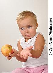 bello, bambino, con, un, mela