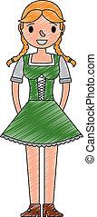 bello, bavarese, donna, in, vestito tradizionale
