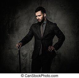 bello, bene-vestito, con, bastone da passeggio