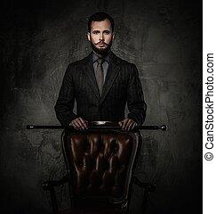 bello, bene-vestito, uomo, con, bastone da passeggio,...