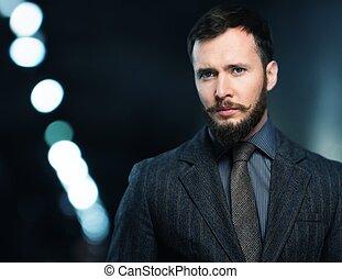 bello, bene-vestito, uomo, in, giacca, con, barba, e, baffi