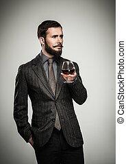 bello, bene-vestito, uomo, in, giacca, con, vetro, di,...