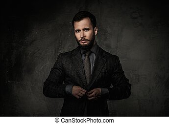 bello, bene-vestito, uomo, in, giacca