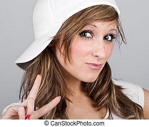 bello, berretto, baseball, adolescente, ragazza, bianco