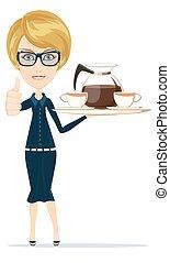 bello, bibite, ordinato, caffè, dare, grande, su, porta, tea., pollici, ragazza, vassoio, cameriera