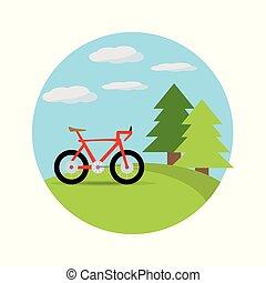 bello, bicicletta, paesaggio